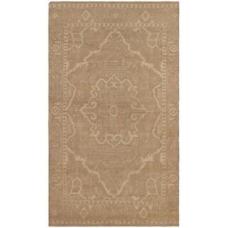 eCarpetGallery  Hand-knotted La Seda Khaki Silk, Wool Rug - 4'6 x 8'0