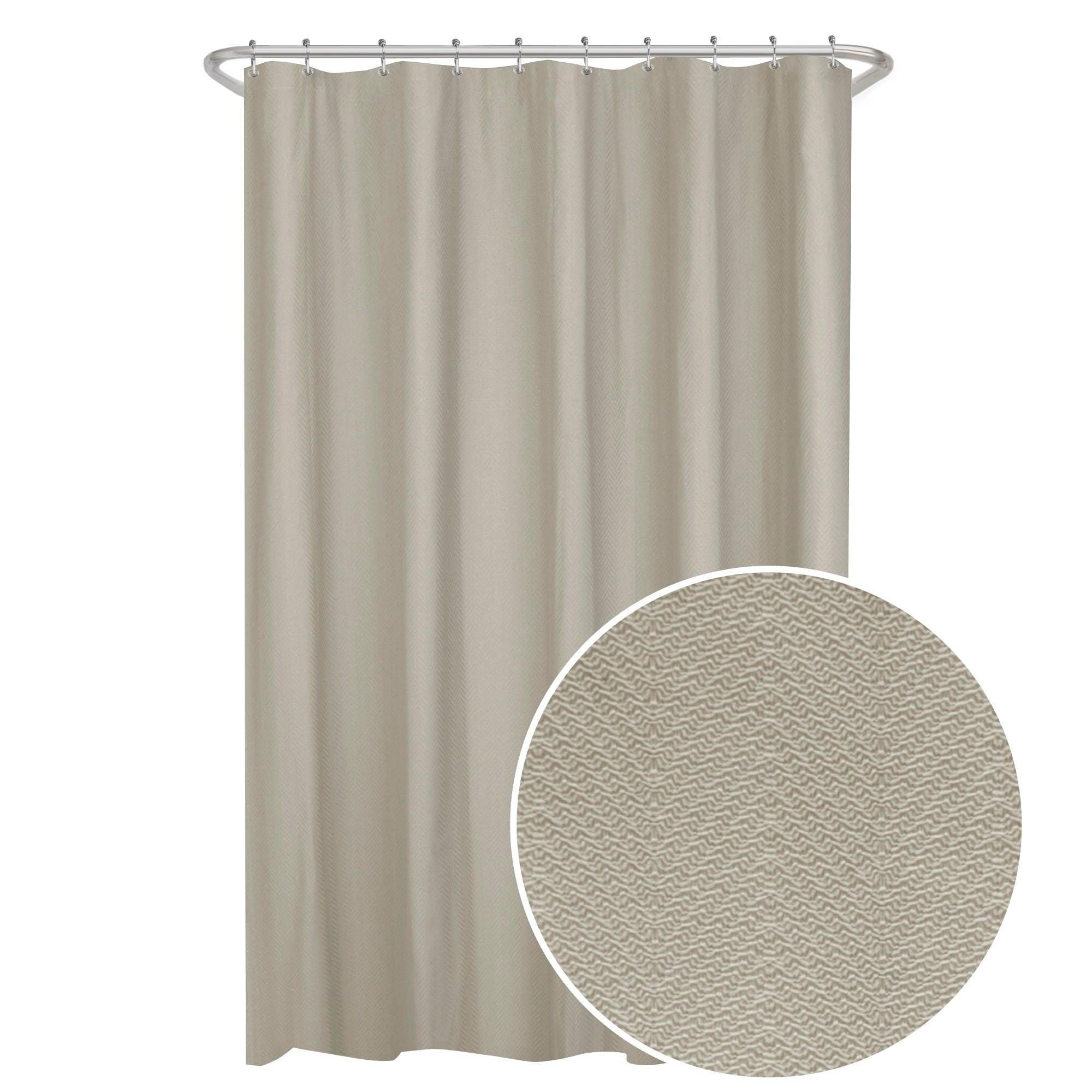 Maytex Herringbone Ultimate Waterproof Fabric Shower Curtain Or Liner
