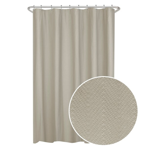 Maytex Herringbone Ultimate Waterproof Fabric Shower Curtain Or Liner