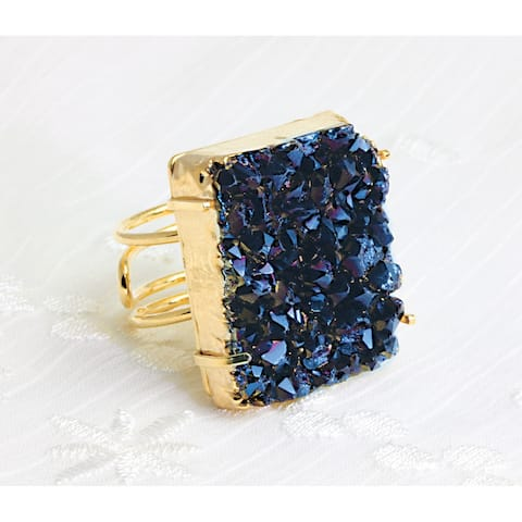 Titanium Druzy Adjustable Gold Plated Rectangle Ring