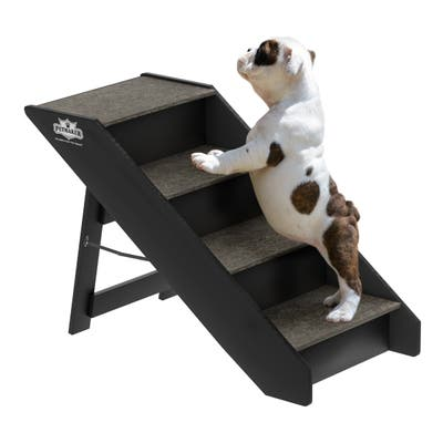 Folding Pet Stairs Carpeted Foldable Wood up to 80lbs by Petmaker