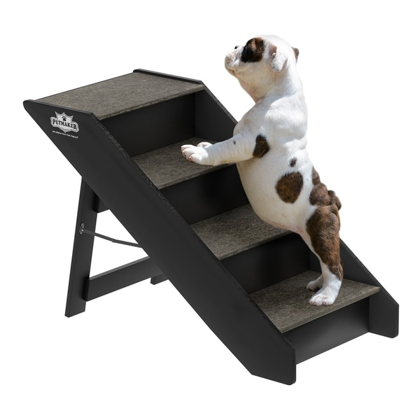 Shop Folding Pet Stairs Carpeted Foldable Wood Up To 80lbs