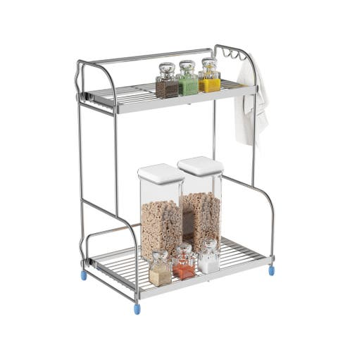 2 Tiered Countertop Storage Shelves with 3 Side Hook by Lavish Home