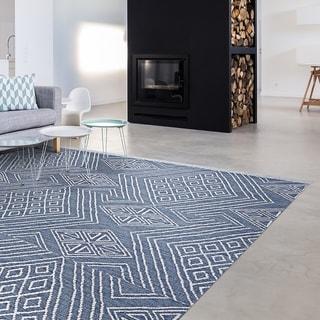 Hand-woven Killarney Sligo Blue Wool Area Rug