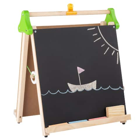 Kids 3 in 1 Wooden Easel Chalkboard and Whiteboard by Hey! Play!