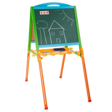 Kids Two Sided Wooden Easel Magnetic Chalkboard and Whiteboard by Hey! Play!