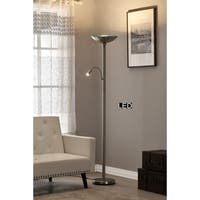 Artiva Saturn II LED Torchiere Floor Lamp with Dimmer, 71, Brushed Steel