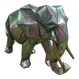 "Aurelle Home Cello Aged Silver Resin Elephant Statue - 24"" x 34"" x 14"""