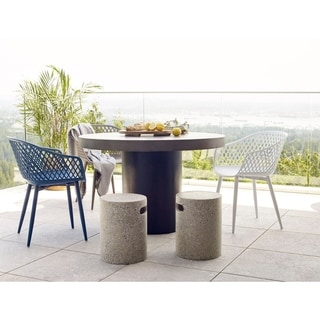 Link to Aurelle Home Piola Waterproof Modern Outdoor Chairs (Set of 2) - 23 x 24 x 32 - 23 x 24 x 32 Similar Items in Dining Room & Bar Furniture