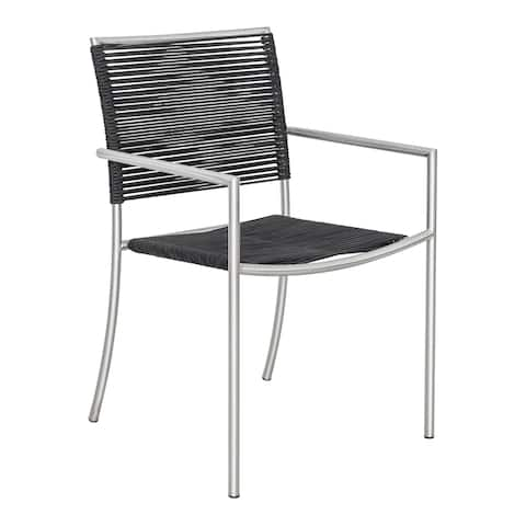 Aurelle Home Stainless and Poly-Rope Outdoor Chairs (Set of 4)