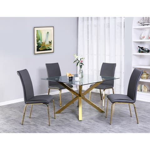 Best Quality Furniture Contemporary Glass 5-piece Dining Set