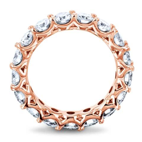 Annello by Kobelli 14k Gold 3ct.tw Round Moissanite Prong Set Eternity Ring Wedding Band