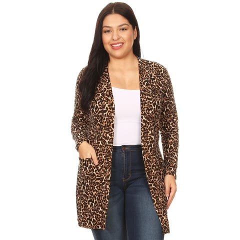 Women's Pattern Print Plus Size Casual Sweater Duster Cardigan