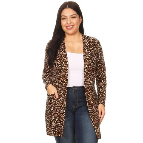 Women's Pattern Print Plus Size Casual Sweater Duster Cardigan