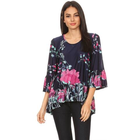 Women's Casual Pattern Print Ruffled Hem Tunic Top