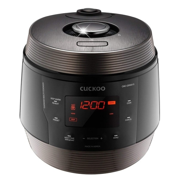 Cuckoo 8 in 1 Multi Pressure cooker Stainless Steel, Made in Korea, ICOOK Q5 SUPERIOR, Midnight, CMC-QSN501S. Opens flyout.
