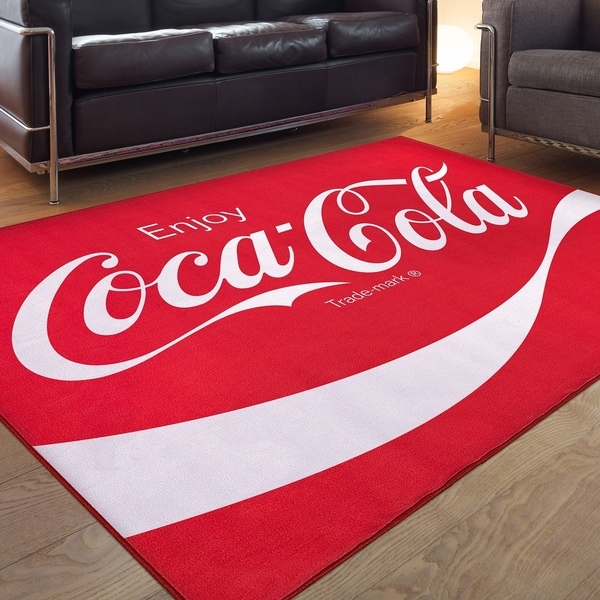 Coca-Cola Enjoy Logo Red Non-Slip Indoor Outdoor Area Rug Carpet