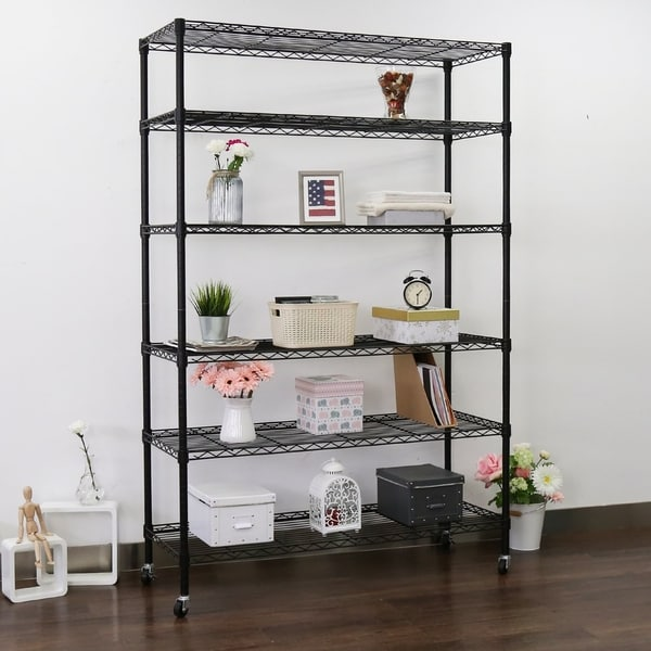 Kinbor 6 Tire Storage Rack Wire Shelving Unit Home Kitchen Organizer W Wheels