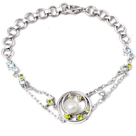 Pearl, Topaz, Peridot Sterling Silver Ball Chain Bracelet by Orchid Jewelry