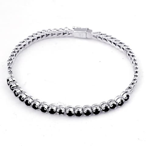 Sapphire Sterling Silver Round Eternity Bracelet by Orchid Jewelry