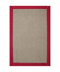 Hand-woven Sisal Red Border Rug (8'9 x 12')