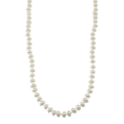 Pearlz Ocean Cultured White Freshwater Pearl Endless Necklace (7-9mm)