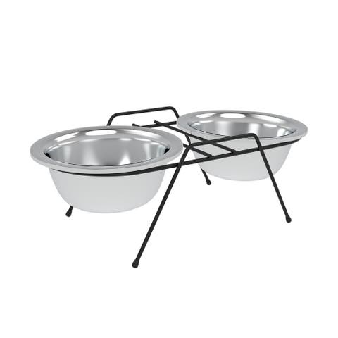 Stainless Steel Elevated Pet Bowls with Nonslip Iron Stand 40 Oz By PETMAKER - 40 ounce
