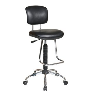 Office Star Products Chrome and Black Vinyl Drafting Chair