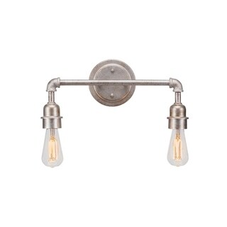 Vintage 2 Light Bath Bar Shown In Aged Silver Finish Glass Shade, Metal Shade, or LED Bulb