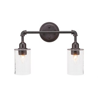 Vintage 2 Light Bath Bar Shown In Dark Granite Finish Glass Shade, Metal Shade, or LED Bulb