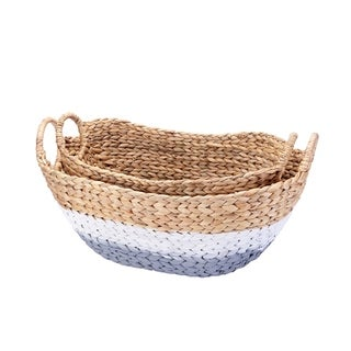 Villacera Tessa Handmade Wicker Baskets Gray and White 24in and 20in Wide Set of 2