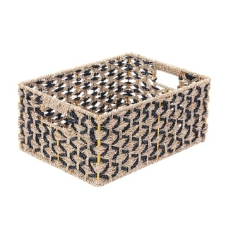 Villacera Rectangle Hand Weaved Wicker Baskets Natural Seagrass Bins  Set of 2