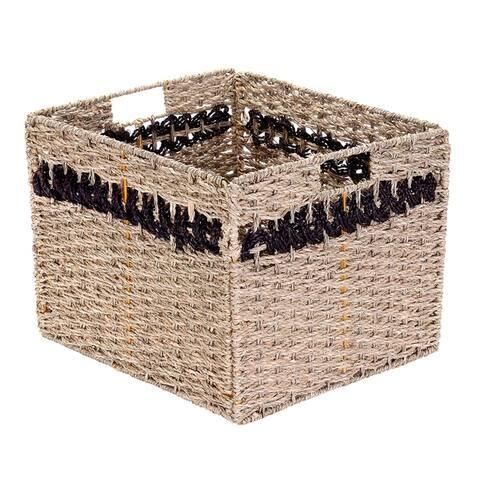 Villacera Handmade Striped Rectangle Wicker Storage Bins Set of 2