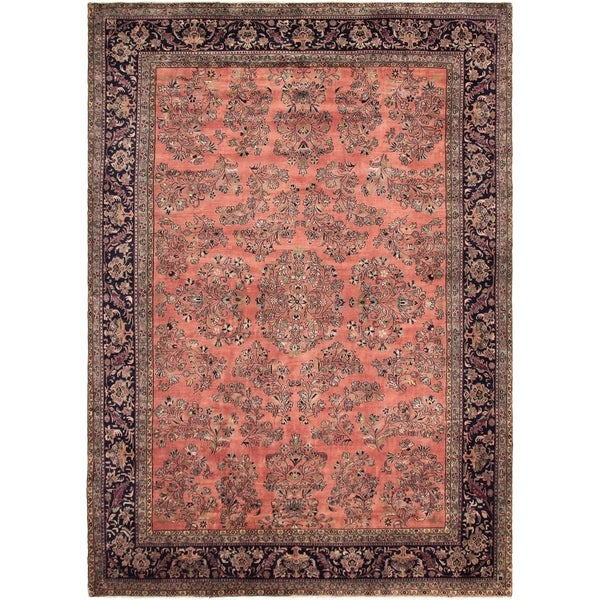 eCarpetGallery Hand-knotted Indo Vintage Salmon Wool Rug - 7'4 x 10'8