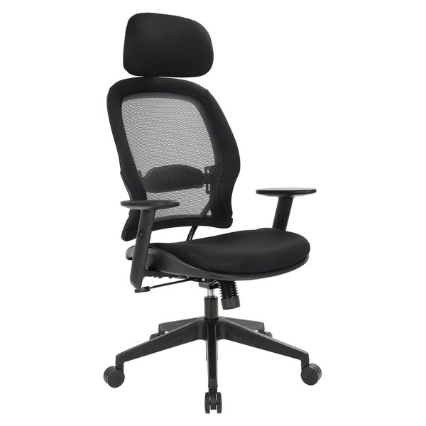 Back and Mesh Seat Chair with Adjustable Headrest