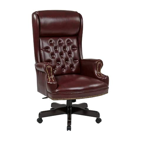 Deluxe High-back Traditional Faux Leather Executive Office Chair