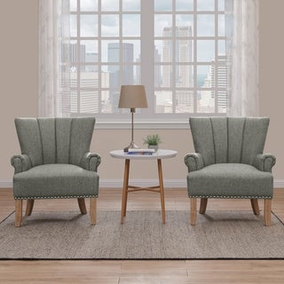 The Gray Barn Alroy Downs Tufted Performance Fabric Arm Chair (Set of 2)