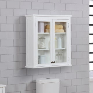 """Dorset 27""""W x 29""""H Wall Mounted Bath Storage Cabinet with Glass Cabinet Doors"""