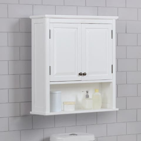 Porch & Den Everest 27 x 29 Bath Storage Cabinet with 2 Doors and Open Shelf