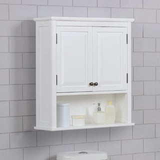 """Dorset 27""""W x 29""""H Wall Mounted Bath Storage Cabinet with Two Doors and Open Shelf"""