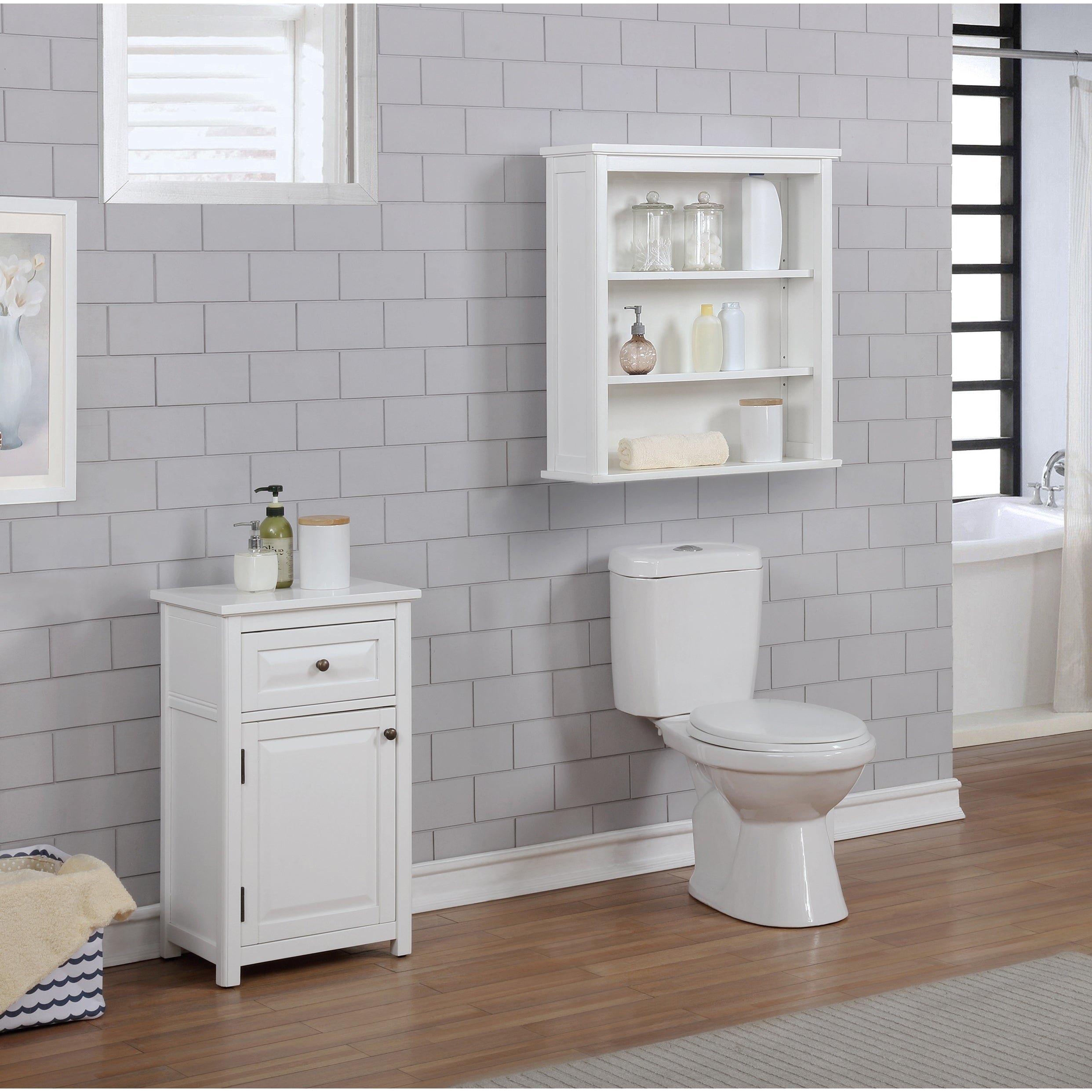 Picture of: Porch Den Everest Wall Mounted 27 X 29 Bath Storage Cabinet With 2 Open Shelves Overstock 26050439