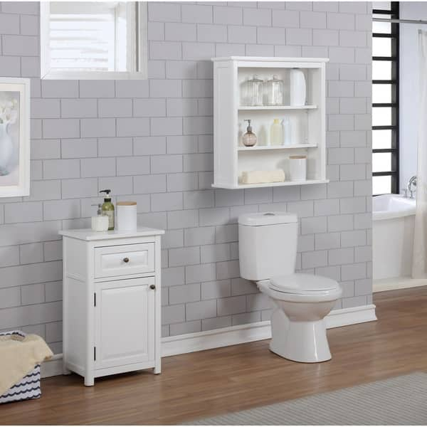 Porch Den Everest Wall Mounted 27 X 29 Bath Storage Cabinet With 2 Open Shelves Overstock 26050439