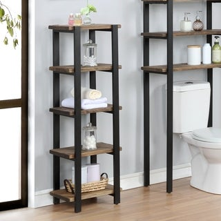 "Pomona 48""H Metal and Solid Wood Bath Floor Storage Shelf - N/A"