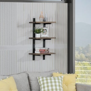 Carbon Loft Lawrence Metal and Solid Wood Wall Shelf