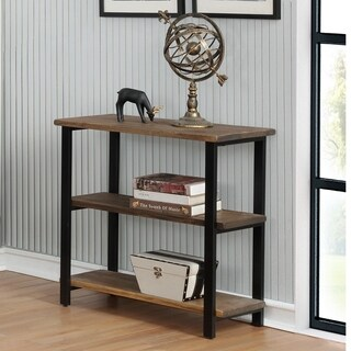 "Pomona 31""H 2-Shelf Metal and Solid Wood Under-Window Bookcase"