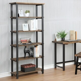 "Pomona 70""H 5-Shelf Metal and Solid Wood Bookcase"