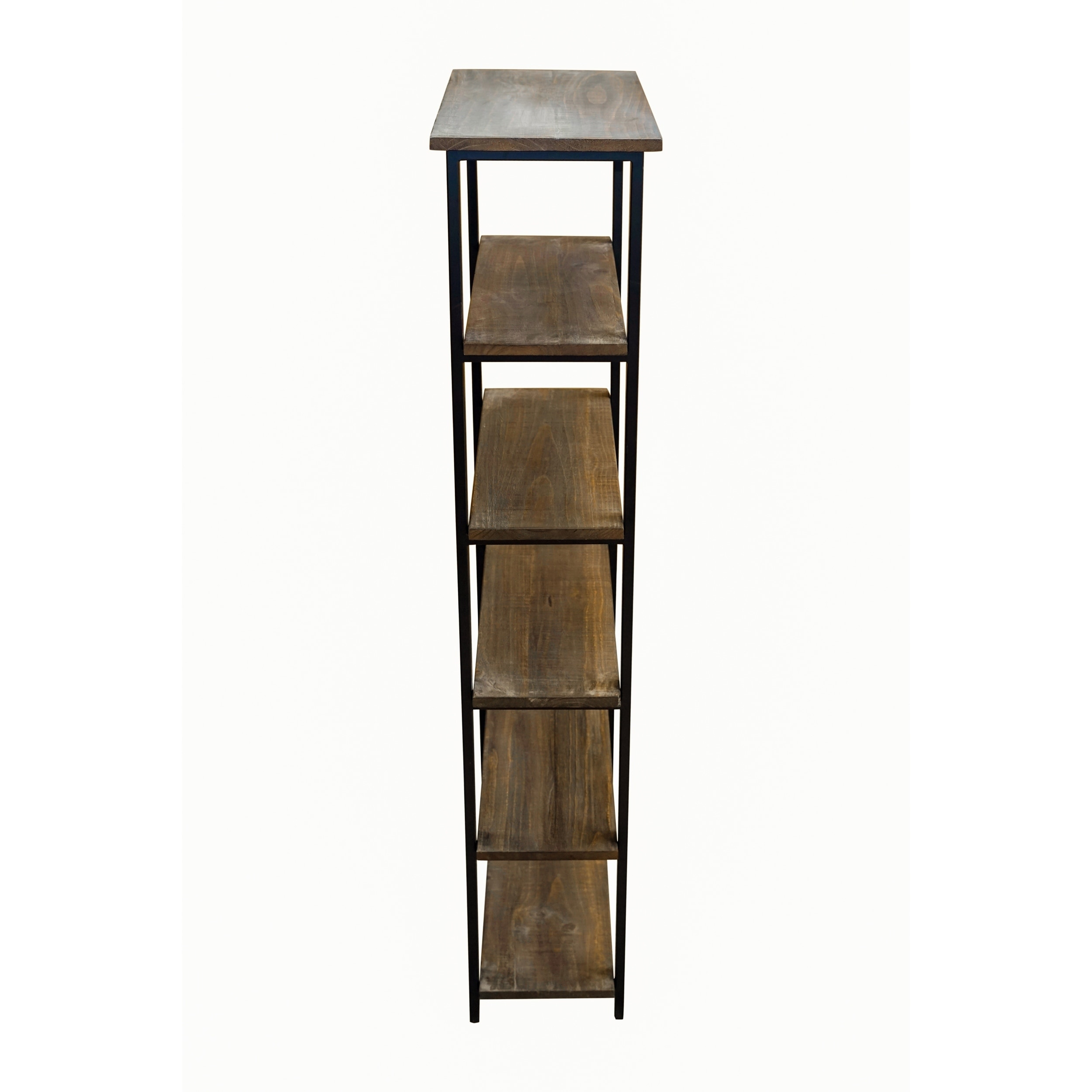 Carbon Loft Lawrence 5 Shelf Metal And Solid Wood Bookcase