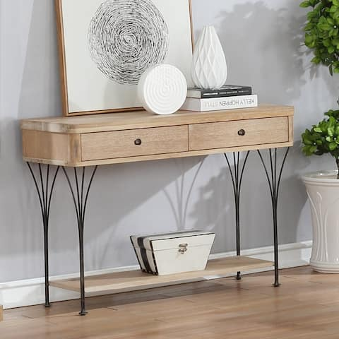 Thetford Weathered Wood Media Console Table