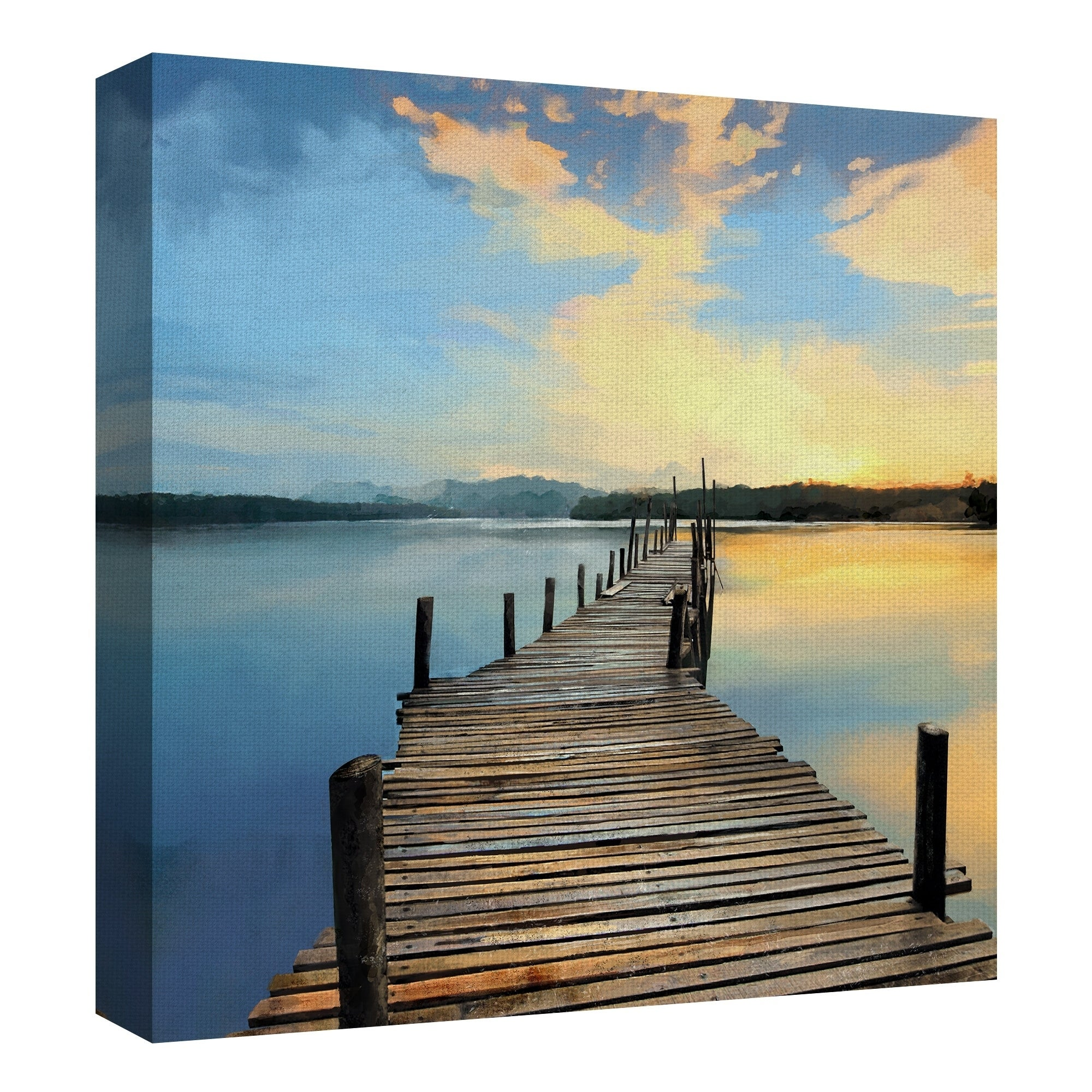 Sunset Pier Wrapped Canvas Art Print Overstock 26050510