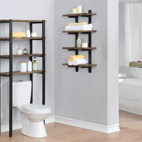 Carbon Loft Kenyon Metal and Solid Wood Bath Natural Wall Shelf